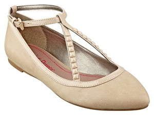 Pink & Pepper Pointed Toe V-strap Almond Toe Faux Leather Studded Nude/ Natural Flats