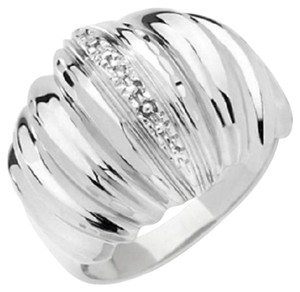 Michael Anthony Michael Anthony Ribbed Diamond-Accented Sterling Silver Dome Ring - Size 7