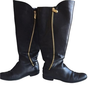 Tahari Leather Elle Comfortable Black Leather Blk Boots