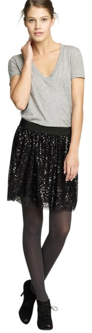 Banana Republic Party Cocktail New Years Eve Nye Party Halloween Sparkle Cocktail Mini Skirt Black Sequin