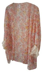 PinkBlush Sheer Lace Floral Maternity Top Peach