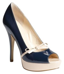 Enzo Angiolini Faux Patent Navy/Neutral Platforms