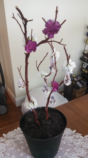 Red Manzanita with Purple and White Flowers Branch / S Hanging Crystals Ceremony Decoration
