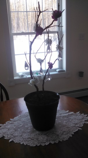 Red Manzanita with Purple and White Flowers Branch W/Purple Hanging Crystals Ceremony Decoration
