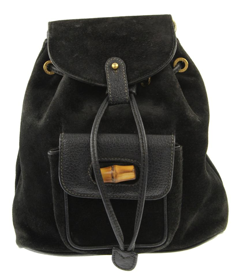 49c03f6a57b4 Gucci Small Bamboo Black Suede Leather Backpack - Tradesy