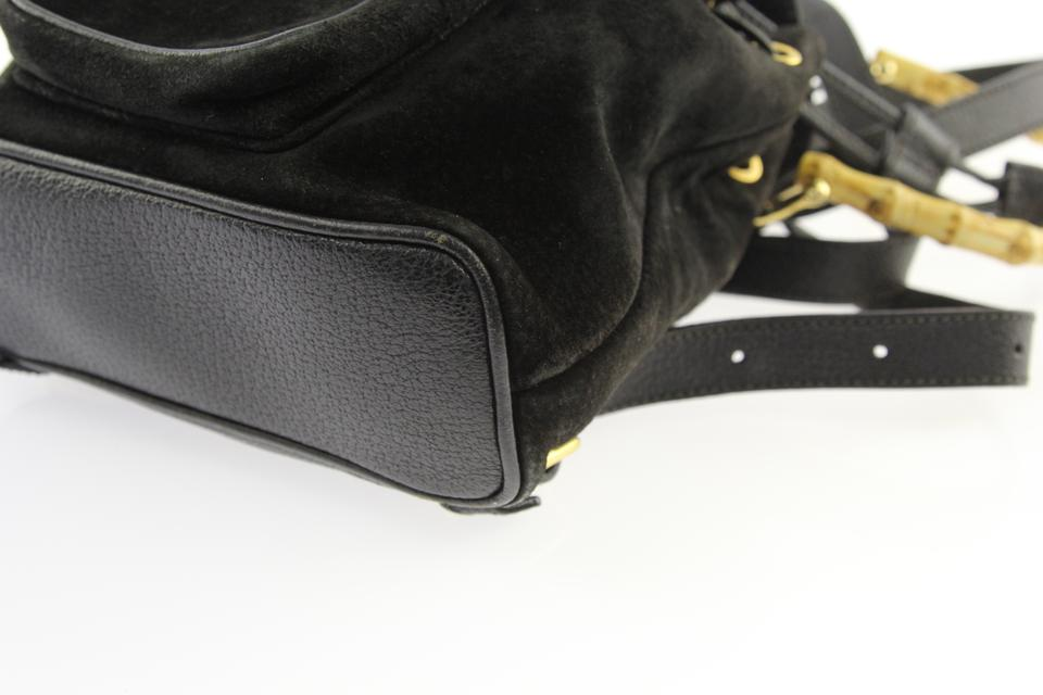 d0052eddab Gucci Small Bamboo Black Suede Leather Backpack - Tradesy