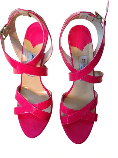 Jimmy Choo Fun Designer Designer Summer High Heel High Heels Open Toe Strappy Pink Sandals