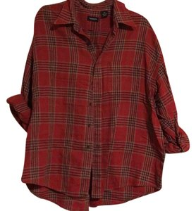 Van Heusen Button Down Shirt Red plaid