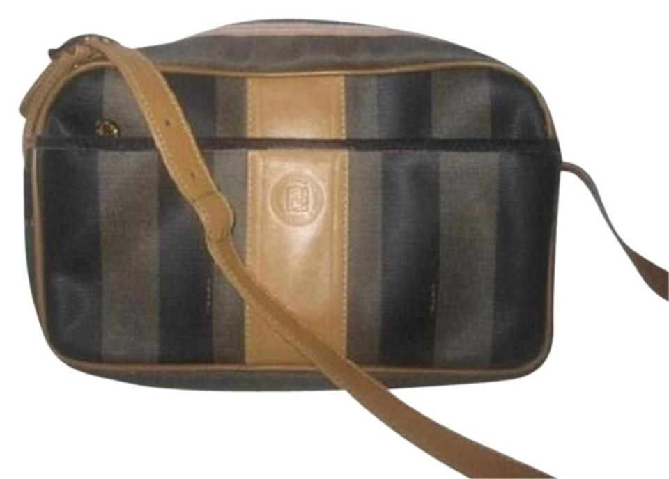 cddd25a7af3 Fendi Wide Striped Print Exterior Pocket Classic Style Gold Hardware Very  Clean Interior Cross Body Bag ...