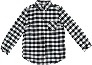 YOYO 5 Black White Button Longsleeve Button Down Shirt Flannel