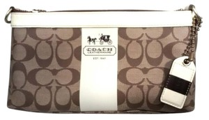 Coach Signature K0769-11562 Heritage Stripe & Off White Brown Clutch