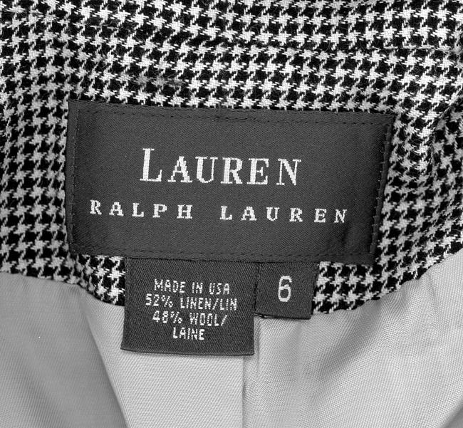 Lauren by Ralph Lauren Houdstooth Jacket Coat Monochrome Geometric Vintage 1990s 90s Retro Spring Fall Business Professional Work Attire black and white Blazer