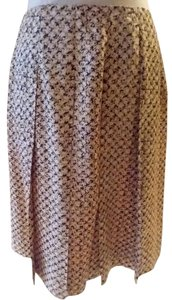 Banana Republic Chic Front Pleated Silk Skirt Beige print