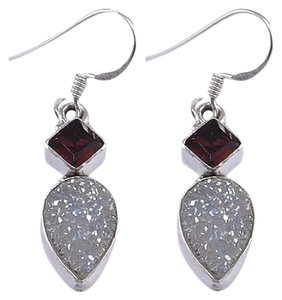 New 925 Sterling Silver and Druzy and Garnet Earrings 1.50