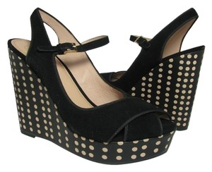 Tory Burch Polka Dots Platform Slingback black Wedges