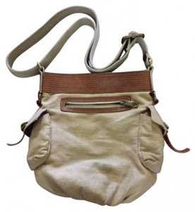 Fossil Purse Over-the-shoulder Canvas Leather Buckles Metal Zippers Cross Body Bag