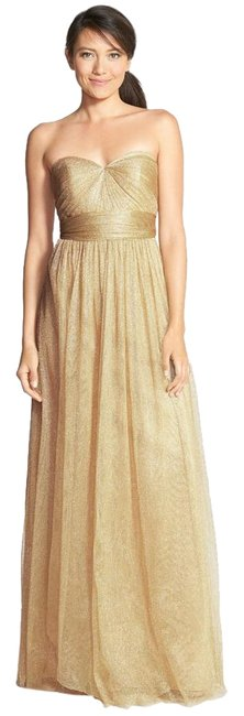 Item - Gold Great Condition Annabelle Convertible Tulle Column Long Formal Dress Size 2 (XS)