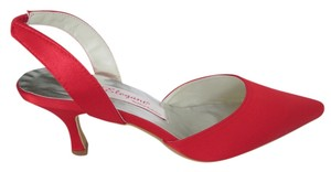Elegant Wedding Collection Satin Slingback Never Worn Bright Cherry Red Formal