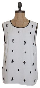 Anthropologie Embellished Beaded Top IVORY
