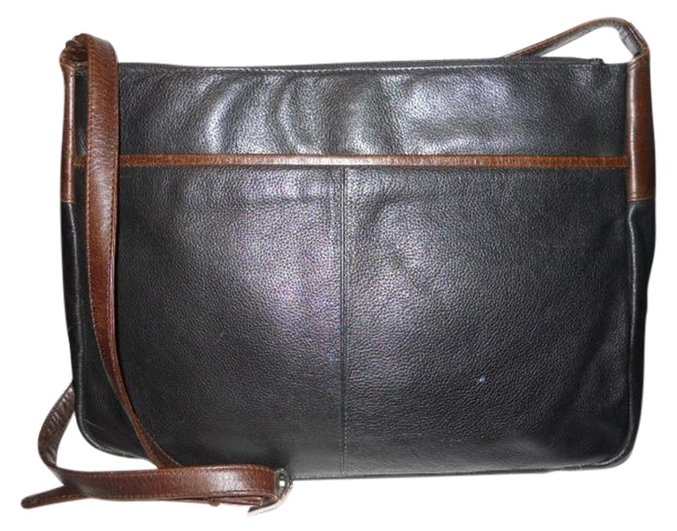 best prada replica handbags - ORVIS Pebbled Leather Black & Brown Cross Body Bag | Cross Body ...
