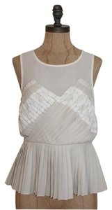 Urban Outfitters Pins And Needless Peplum Pleated Lace Top IVORY