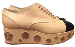 Chanel Camellia Platform Chain Leather beige Wedges