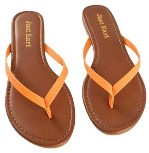 Just Earl Faux Leather Orange Sandals