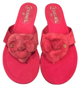 Chanel Camellia Flower Chain Slide red Sandals