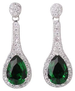 New Pear Shape Emerald and White Gold Filled Dangle Earrings