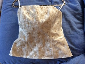 White House | Black Market Beaded Bustier Corset Gold Top Ivory