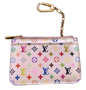 Louis Vuitton White_Multicolor_Pochette_Coin_Keychain_w/gift_box&dust_bag