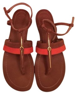 Tory Burch Leather Orange and Brown Sandals