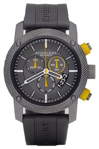 Burberry Men's Chronograph Gray Rubber Strap 44mm BU7713