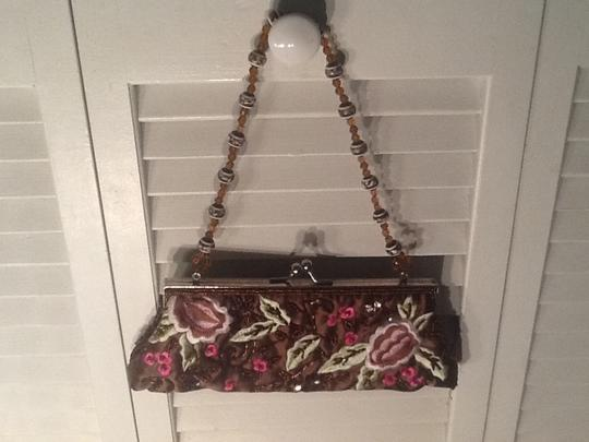 Other Beaded Brown w/green and pink Clutch