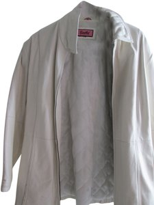 Excelled Soft Leather Tailored Plus Size Ivory Jacket