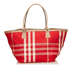 Burberry Beige Brown Fabric Tote