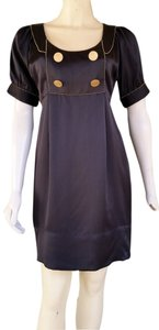 Lauren Moffatt short dress Black Silk Gold Buttons on Tradesy