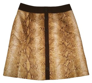 Lafayette 148 New York Metallic Gold Python Animal Print Mini Skirt