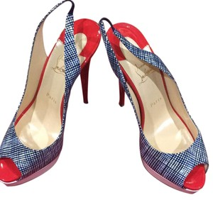 Christian Louboutin Navy White and Red Platforms