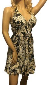 Angie short dress Black White Black And White Floral Flowing Halter Club on Tradesy