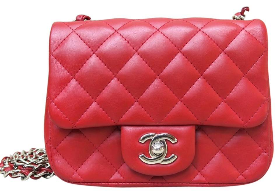 c0142b45cfbc44 Chanel Classic Flap Classic Mini Square Red Lambskin Cross Body Bag ...