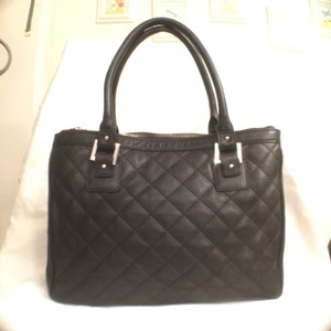 Calvin Klein Leather Quilted Large Tote Satchel in Black