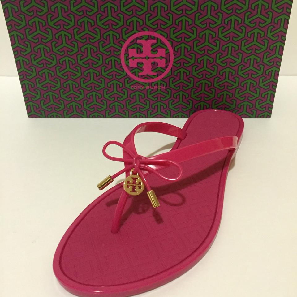 242cb05a36ef5 Tory Burch Pink Jelly Bow Logo-charm Thong Sandals Size US 10 ...