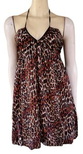 Betsey Johnson Leopard Silk Bubble Hem Halter Dress