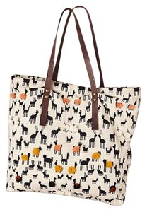 Anthropologie Bohemian Wool Leather Embroidered Cotton Tote