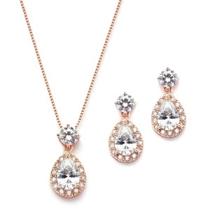Rose Gold Brilliant Crystals Halo Pear Shaped Necklace Earrings Jewelry Set