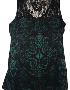 Express Top Green and Black Lace