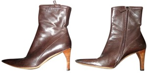 Gucci Leather Heel Brown Boots