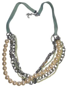 Other Multi Chain Bib Necklace Green Silver N801