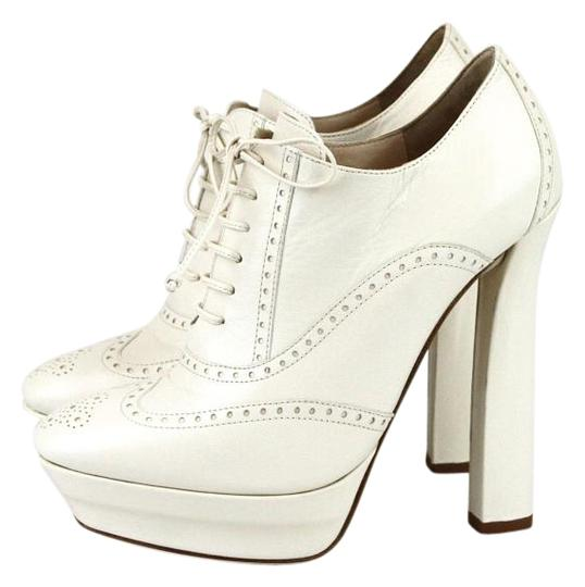 Bottega Veneta White Leather Lace-up Platform White9902 Boots
